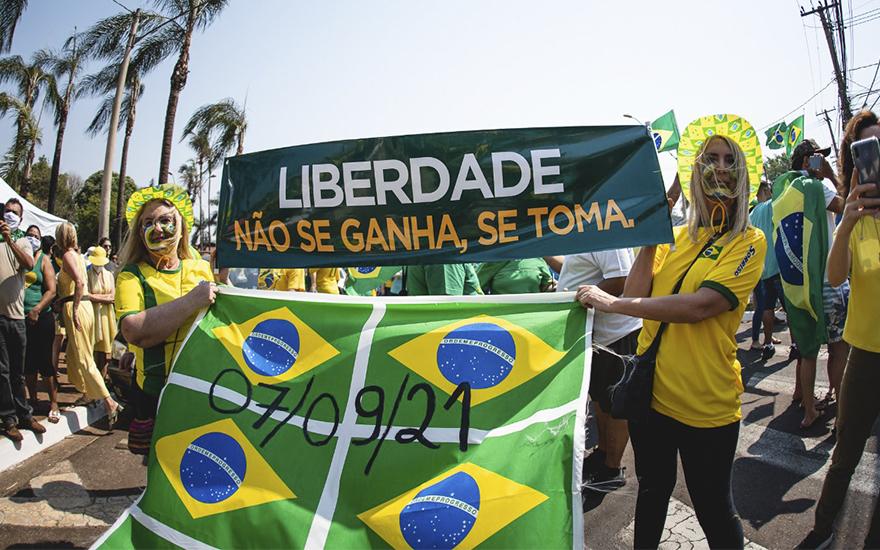 Manifestações do sete de setembro, em Ribeirão Preto. Foto: Luan Porto/Revide